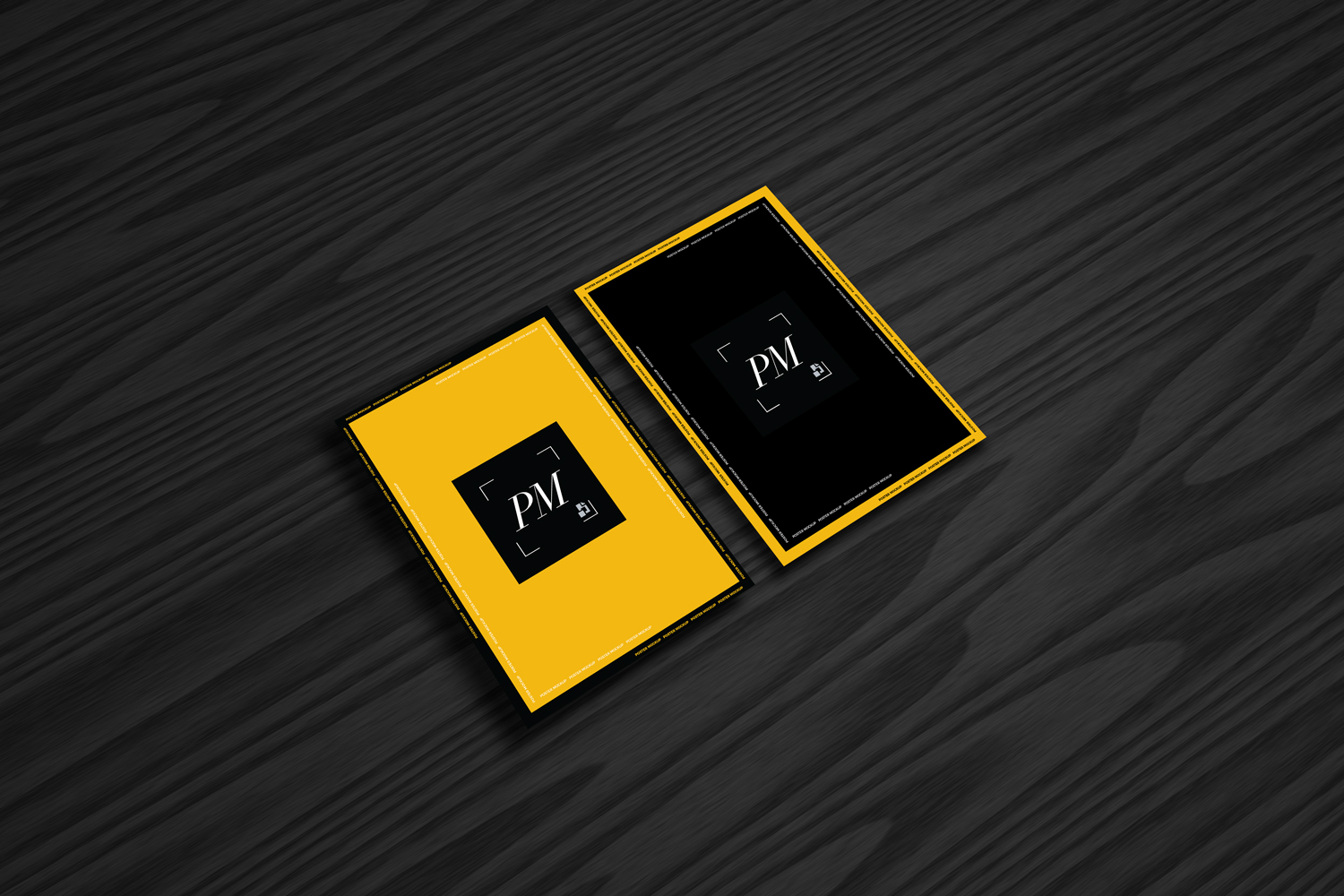 Free-Posters-Mockup-on-Black-Wooden-Background-600