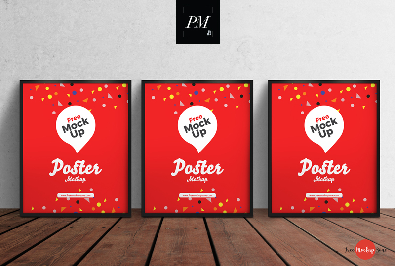 Free-3-PSD-Posters-on-Wooden-Floor-Mockup-300