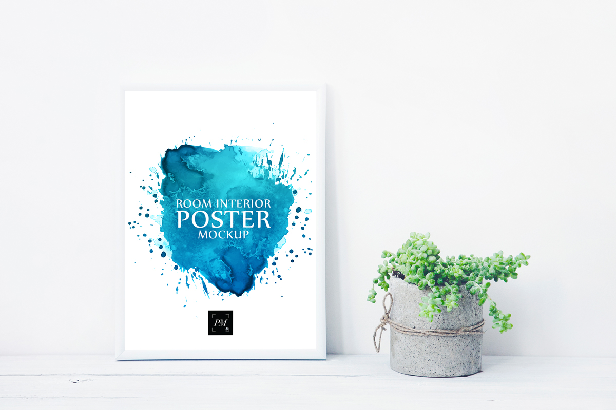 Free-Room-Interior-Poster-With-Concrete-Pot-Mockup-PSD