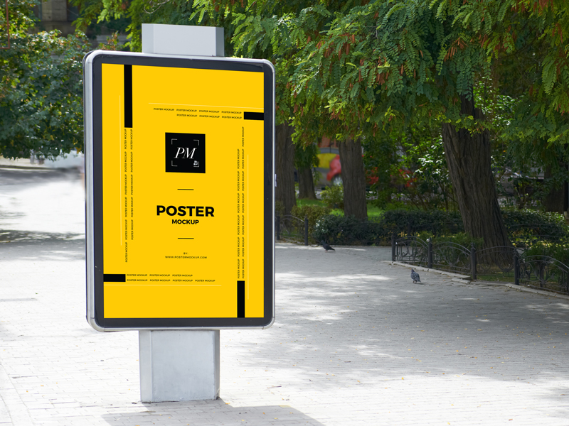 City-Street-Outdoor-Advertisement-Vertical-Poster-Mockup