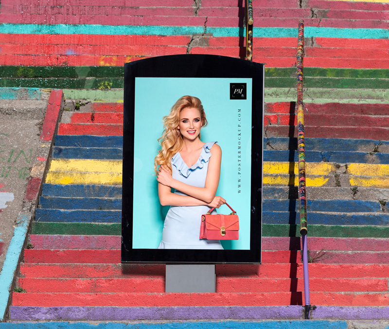Free-Outdoor-Advertisement-Poster-Billboard-on-Stairs-Mockup-PSD