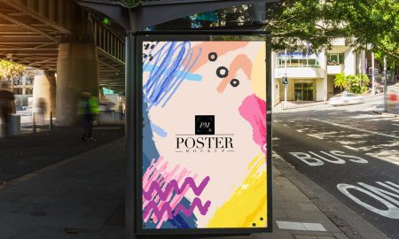 Free-Outdoor-Bus-Stop-Advertisement-Vertical-Billboard-Poster-Mockup-PSD-2018