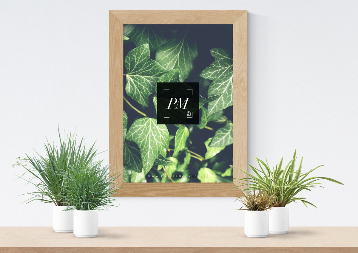 Free-Plant-Vases-With-Wooden-Frame-Poster-Mockup-PSD