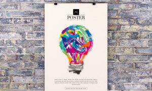 Free-Poster-on-Brick-Wall-Mockup-PSD-For-Advertising