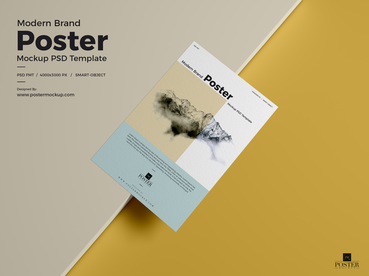 Modern Brand Textured Paper Poster Mockup Psd Template Poster Mockup