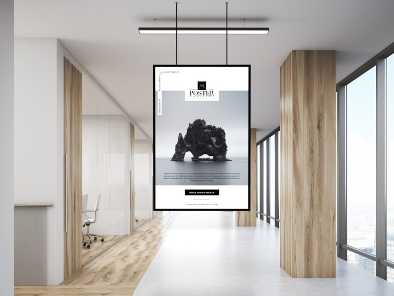 Free-Office-Indoor-Hanging-Poster-Mockup