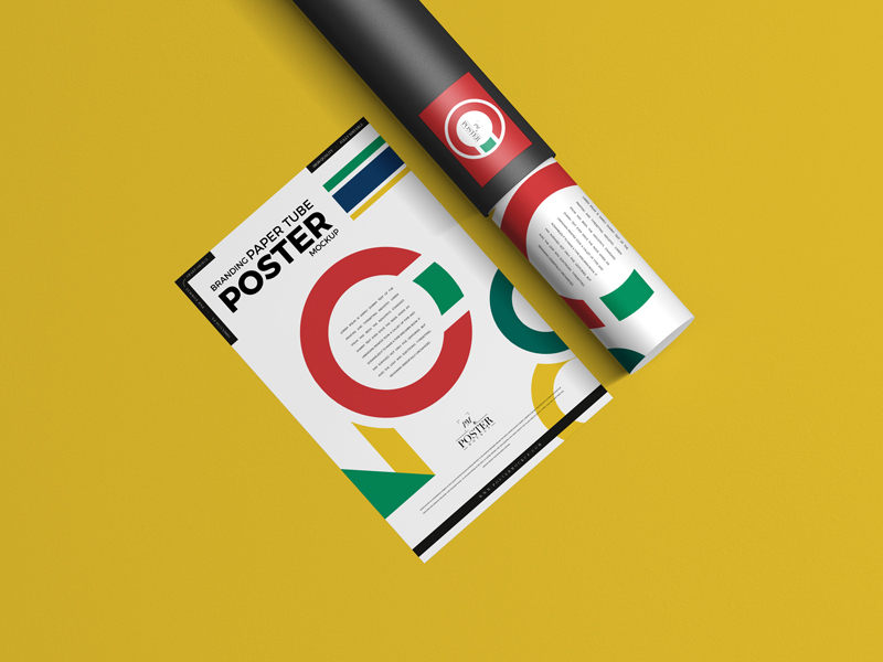 Branding-Paper-Tube-With-Poster-Mockup