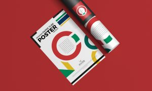 Free-Branding-Paper-Tube-With-Poster-Mockup