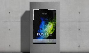 Free-Glued-Paper-Poster-on-Pillar-Mockup
