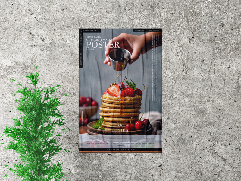 Free-Glued-Paper-on-Cement-Wall-Poster-Mockup