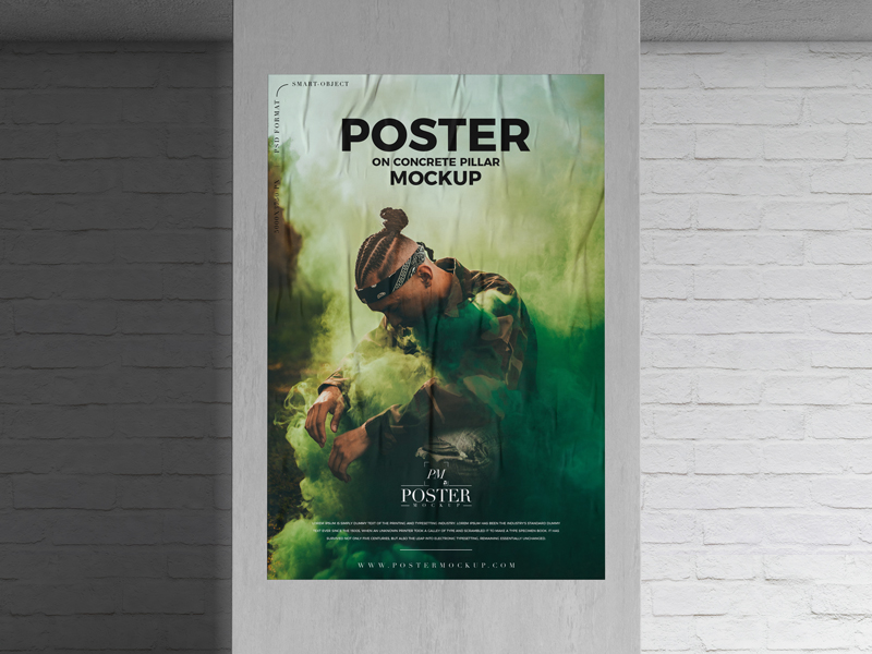 Free-Poster-on-Concrete-Pillar-Mockup