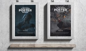 Advertising-Display-Glued-Paper-Posters-Mockup