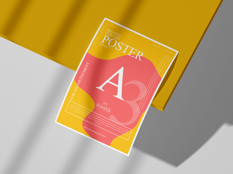 Free-Branding-A3-Curved-Poster-Mockup