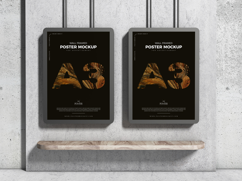 A3-Advertising-Wall-Framed-Poster-Mockup-Free