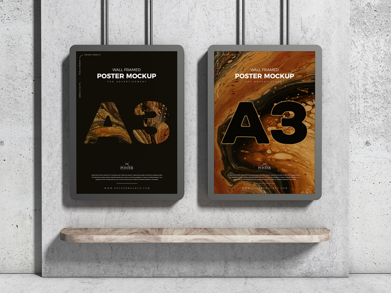 Free-A3-Advertising-Wall-Framed-Poster-Mockup