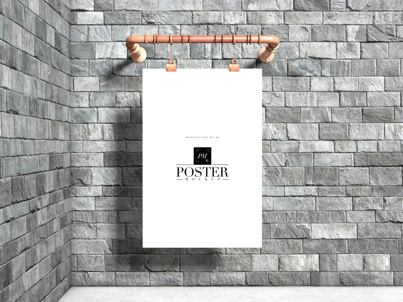 Industrial-Advertising-Wall-Hanging-Poster-Mockup-Free