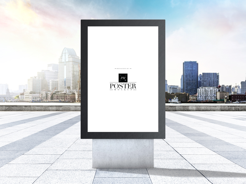 City-Outdoor-Advertisement-Stand-Poster-Mockup-Free