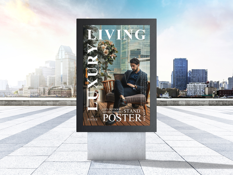City-Outdoor-Advertisement-Stand-Poster-Mockup