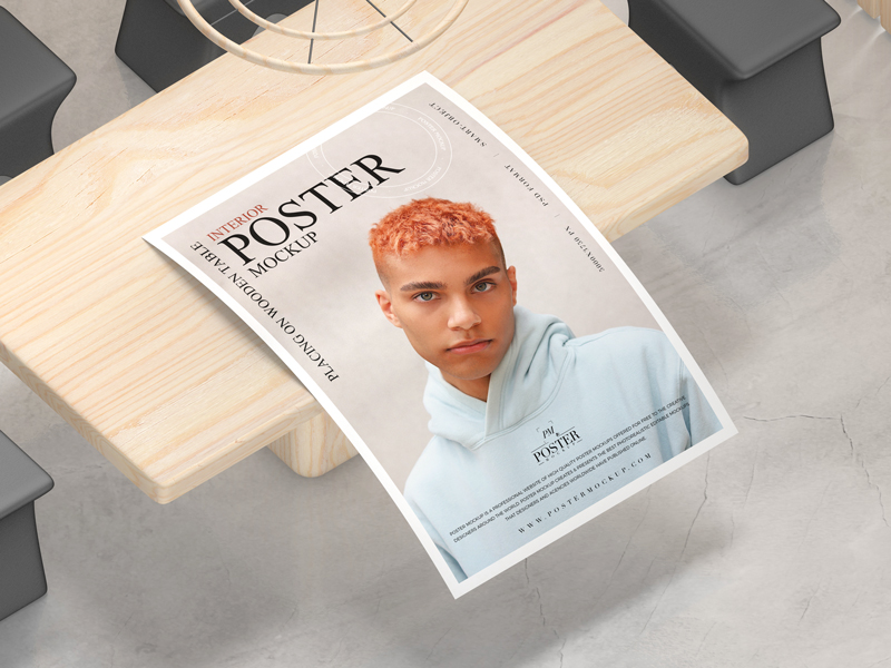 Free-Interior-Poster-Placing-on-Wooden-Table-Mockup