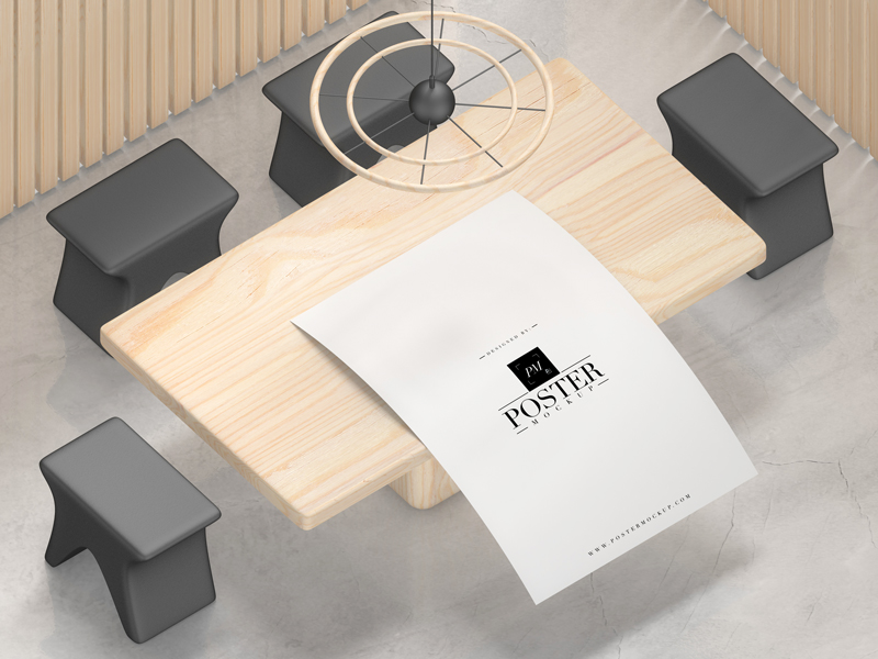 Interior-Poster-Placing-on-Wooden-Table-Mockup-Free