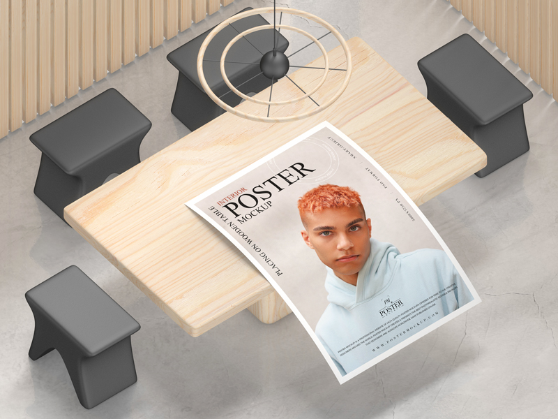 Interior-Poster-Placing-on-Wooden-Table-Mockup