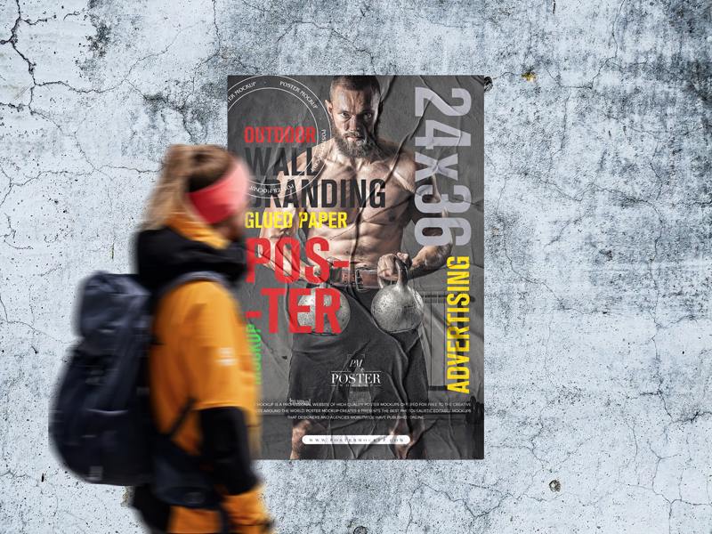 Free-Outdoor-Wall-Branding-24x36-Glued-Paper-Poster-Mockup