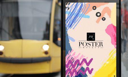 Free-Outdoor-Bus-Stop-Advertisement-Vertical-Billboard-Poster-Mockup-PSD-2018