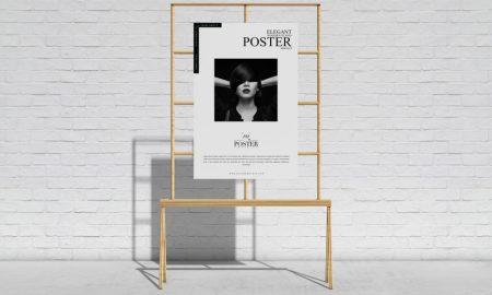 Free-Elegant-Wooden-Stand-Poster-Mockup