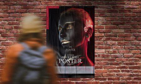 Free-Outdoor-Girl-Looking-Bricks-Wall-Poster-Mockup