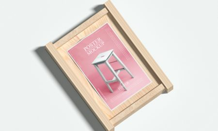 Poster-Placing-on-Wooden-Frame-Mockup